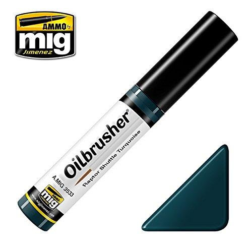 Ammo of Mig Oilbrusher Raptor Shuttle Turquoise Oil Paint Fine Applicator #3533