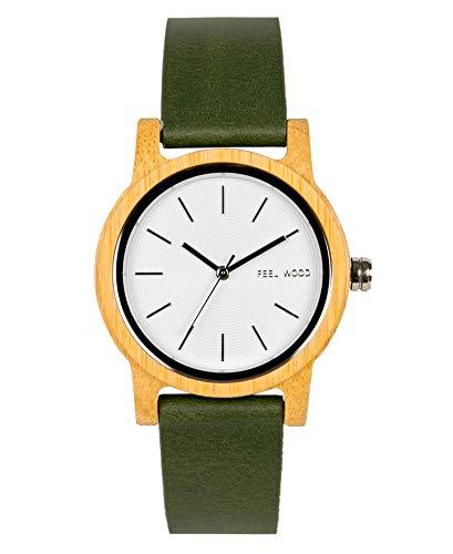 Feel Wood - Kalinaw - Reloj de Mujer 36mm Hecho de Madera Natural y sostenibles - Correa Intercambiable (Green Forest)