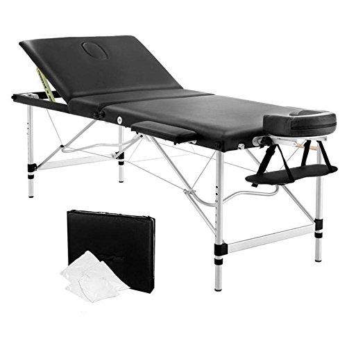 Massageliege 3 Abschnitt Tragbar Massagetisch Aluminium Gesichts SPA Bett Tätowierung mit Frei Tragen Fall