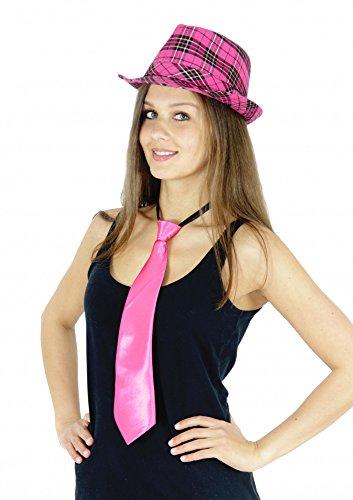 Foxxeo Pinke Krawatte für Damen Karneval Fasching JGA Party pink rosa