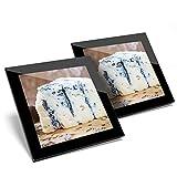 Impresionante juego de 2 posavasos de cristal con diseño de queso azul Stilton brillante de calidad para cualquier tipo de mesa #12383