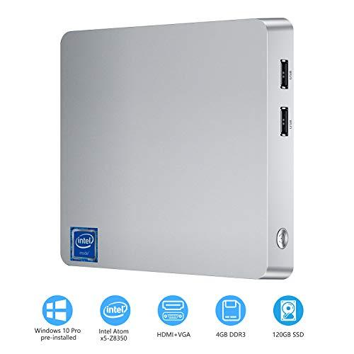 Mini PC, T11 Intel Atom Z8350 Windows 10 Pro Mini Computer 4GB DDR/32GB eMMC/120GB 2.5-Inch SATA III Internal SSD,Support 4K HD,HDMI+VGA Output,2.4G/5G WiFi,Bluetooth,1000Mbps Ethernet