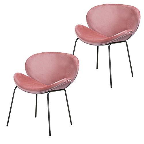 Nicemoods sillas Comedor Pack 2,Sillas de Terciopelo Retro Lounge con Diseño Moderno,Asiento de Terciopelo Vintage con Patas de Metal Sillas de Bañera(Rosa)