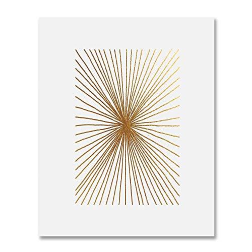 DIGIBUDDHA Burst Lines Gold Foil Art Print Abstract Hand...