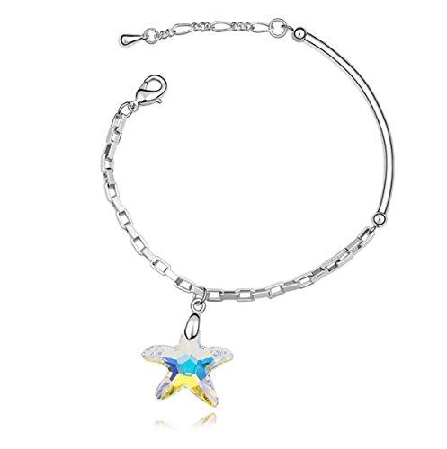 ANAZOZ Schmuck Damen Armband mit Seestern Kristallanhänger Zirkonia Armreif Maritim Strand Meer Urlaub für Frauen Freundin - Bunt