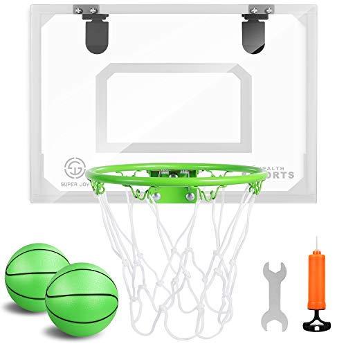 Mini aro de baloncesto interior brilla en la oscuridad – Mini aro de baloncesto profesional para puerta y pared con accesorios completos..
