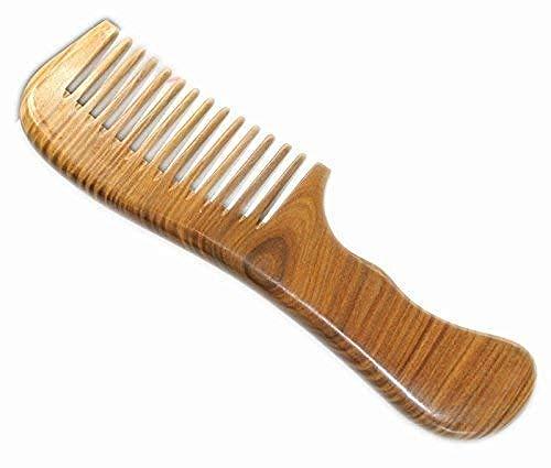 CLNAONG Démêlant en Bois,Massage Brosse Cheveux en Bois, 100% Peigne en Bois De Santal Vert Fait À La Main Grand Peigne en Bois De Santal Anti Statique 17,5 Cm