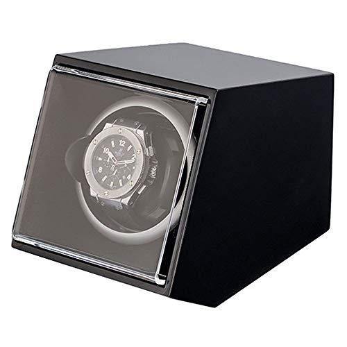 Good Shopping Caja Giratoria Relojes Watch Winder con Almohadas de Reloj Blandas y Flexibles, Carcasa de Madera, con Motor japonés, iluminación LED Azul incorporada Caja de Reloj (Color : A)