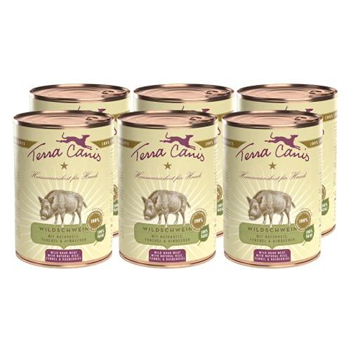 Terra Canis Classic Nassfutter I Reichhaltig & gesund, Premium Hundefutter in echter Lebensmittelqualität der Rohstoffe - Wildschwein & Naturreis I 6 x 800g, allergen- & getreidearm, glutenfrei
