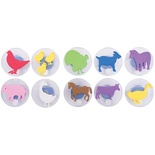 READY 2 LEARN Giant Stampers - Farm Animals - Set of 10 - Easy to Hold Foam Stamps for Kids - Arts and Crafts Stamps for Displays  Posters  Signs and DIY Projects