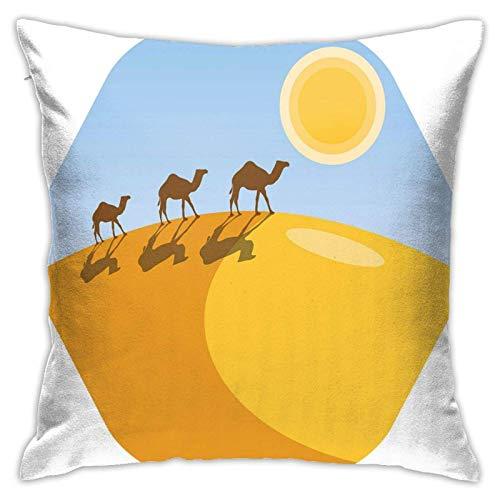 Tcerlcir Throw Pillow Funda de cojín con Siluetas de Camello en la Colina de Las Dunas de Arena del Desierto, para sofá Decorativo, Dormitorio, Coche, 18 x 18 Pulgadas