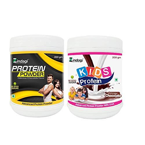 Zindagi Kids & Adult Protein Powder - Natural Health Supplement - Sugar Free Powder (Combo Pack)