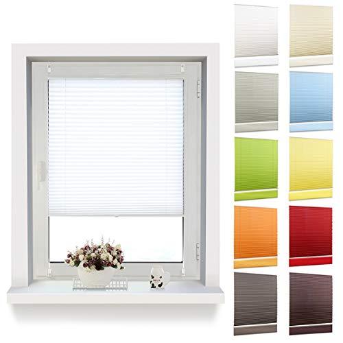 OUBO Plissee Jalousie Faltrollo Klemmfix ohne Bohren mit Klemmträger (Weiß, B50cm x H130cm) Sichtschutz und Sonnenschutz Blickdicht Jalousie für Fenster & Tür