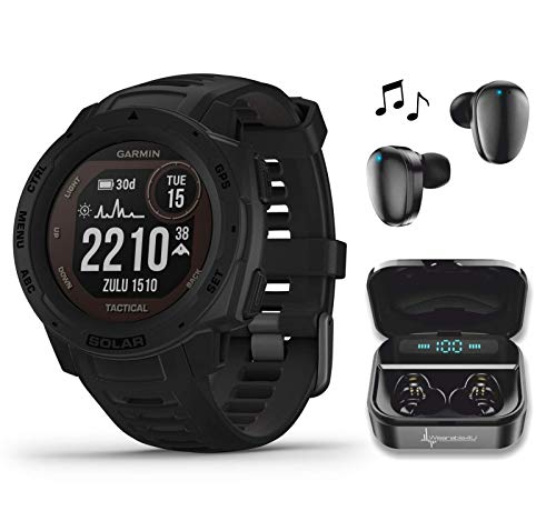 Garmin Instinct Solar Tactical Edition Premium GPS Smartwatch with Included Wearable4U Ultimate Black Earbuds with Charging Power Bank Case Bundle (Black)
