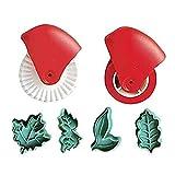 CCNN Juego de Cortador de Rueda de pastelería y émbolo para decoración de Masa de Tarta, Herramientas para Hornear Galletas y Galletas, 2 Tipos, 6 Piezas