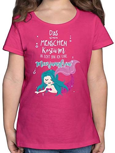 Karneval & Fasching Kinder - Das ist Mein Menschen Kostüm in echt Bin ich eine Meerjungfrau - 152 (12/13 Jahre) - Fuchsia - meerjungfrau Kinder Shirt - F131K - Mädchen Kinder T-Shirt