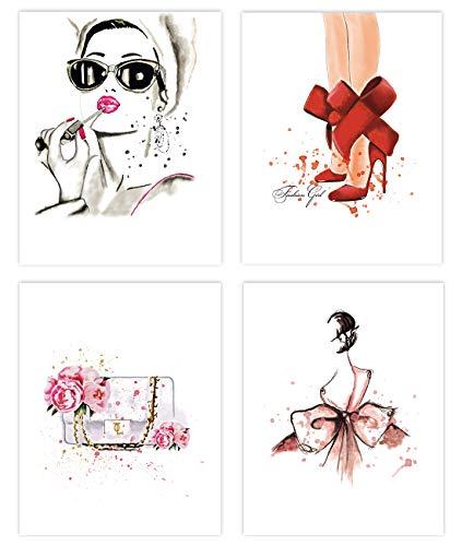 KAIRNE 4er Set Moderne Wand-Bilder für das Wohnzimmer | Premium Poster als Wandbilder | Stilvolles Set mit passenden Bilder | Wandbild Schlafzimmer deko | Bilderwand Bildergalerie ohne Rahmen,20*25cm