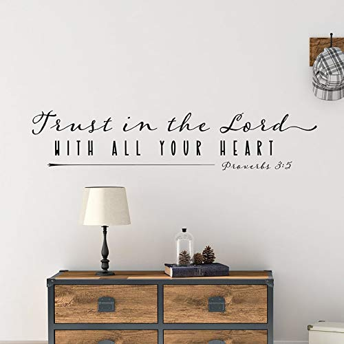 Sticker mural « Trust in The Lord with All Your Heart » pour chambre familiale, proverbes de la Bible