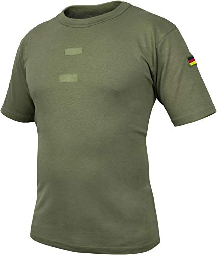 normani Bundeswehr Tropen T-Shirt mit Deutschlandfahnen und Klettstreifen Farbe Olive Größe 7