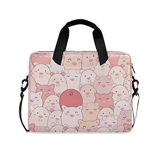 Yulife Animal Cute Pig Laptop Bag Sleeve Case for Women Men Briefcase Tablet Messenger Shoulder Bag with Strap Notebook Computer Case 14 15.6 16 Inch for Kids Girls Business