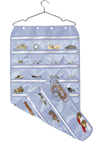 Hanging Jewelry Organizer with Zipper,Dual-Sided 56 Clear Pockets for Earrings Necklace Bracelet Ring Accessory Display (Grey)