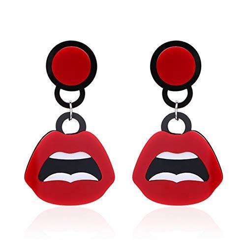 1 Par Personalidad manera de la forma de acrílico Pendientes Pendientes Boca divertidos pendientes joyería para las mujeres niñas Rojo Muy de moda del pendiente