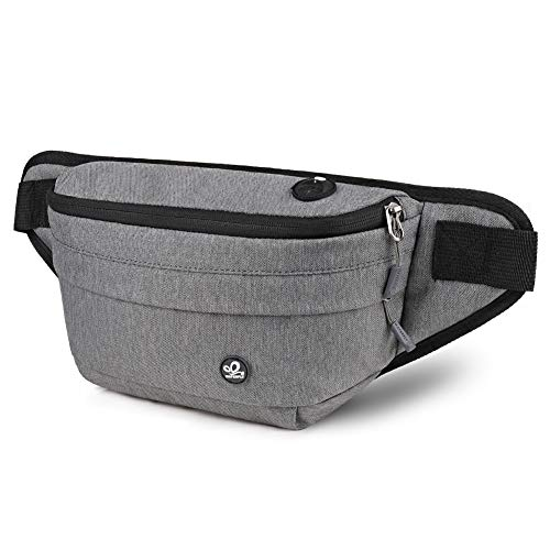 WATERFLY Fanny Pack for Men women water resistant hiking waist bag pack for workout running walking traveling (Light Gray)