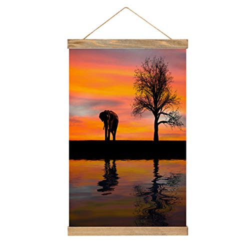 Elephant Canvas Wall Art Vertical Paintings Elephant Silhouette In Artwork For Home Kitchen Living Room Bedroom Décor