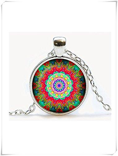Mandala-Anhänger, Mandala-Halskette. Mandala-Schmuck, kuppelförmiger Glasschmuck, reine Handarbeit