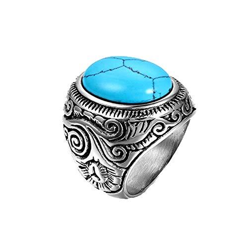 OIDEA Anillo Hombre Acero Inoxidable Piedra de Turquesa Artificial 14 (17.2mm) Joyería Regalo San Valentín Compromiso Boda