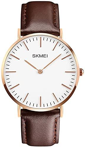 QHG Vestido clásico de los Hombres Reloj de Pulsera Delgada Dial Casual Clásico Cuarzo Muñeca Business Analog Watch (Color : Brown)