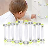 Child Safety Locks (10 Pack), Baby Proofing Lock for Cabinets, Fridge, Drawers, Ovens, Toilets, Doors, No Tools No Drilling, Multi-Purpose Strap Latches with Strong Adhesive - CHOOBY