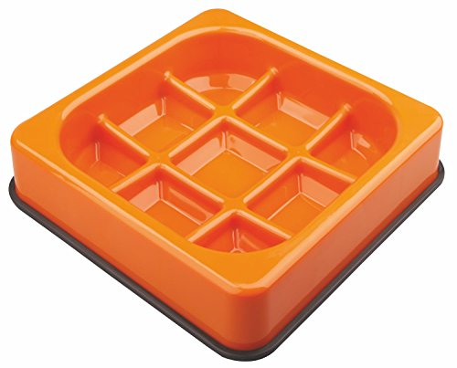 M-PETS Waffle Slow Feed Bowl Orange pour Chien Orange