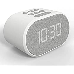 i-box Alarm Clock Bedside Non Ticking LED Backlit Alarm Clock with USB Charger & FM Radio, 5 Step Dimmable Display - Wall Outlet Powered with Battery Backup