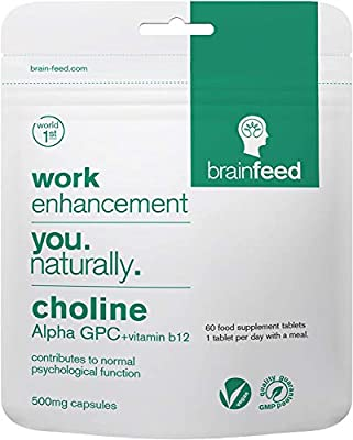 Choline Alpha GPC 99%   500mg Capsules   60 Capsules – 1 per Day  Nootropic for Focus, Concentration & Memory Supplement  Vegan Choline   UK Manufactured [NOT Alpha GPC 50%]
