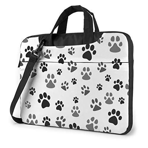 Black Gray Dog Paw, White Laptop Case Bag Sleeve Shoulder Messenger Briefcase Portable Computer Bag W/Strap Handle for 14in Laptop