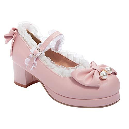 Holibanna Zapatos Planos de Mujer con Correa de Encaje de Punta Redonda de Cuero de Verano Lolita Sweet Shoes Cosplay con Plataforma