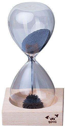 Grinscard Magnet Sanduhr Mundgeblasen mit Holzständer - Transparent, Laufdauer 30 sek. Stundenglas als Geschenkidee