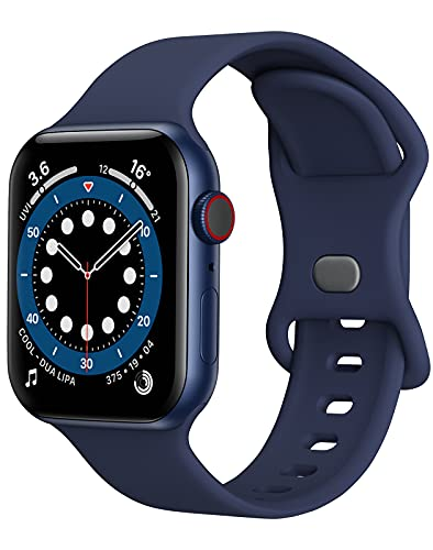 Watch Band Compatible with Apple Watch Band 38mm 40mm Women Men iWatch Band Soft Silicone Sport Strap Wristband Compatible with Apple Watch Series 6 5 4 3 2 1 SE (Navy Blue,38/40mm,S/M)
