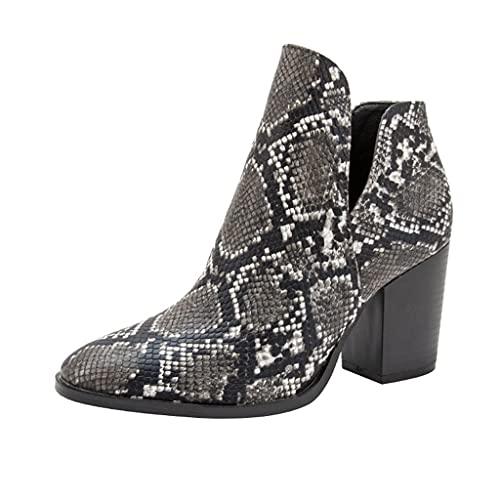 GUOIOOI Botines de Mujer, Botas con Estampado de Serpiente Zapatos sin Cordones de Moda de Tacones Medios de Bloque Grueso Talla Extra Botines Chelsea (Color : C, Size : EUR41/US10)
