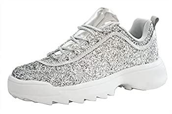 LUCKY STEP Women Glitter Chunky Dad Neon Orange Yellow Snake Sneakers Tennis Casual Lightweight Shoes  9 B M  US Silver
