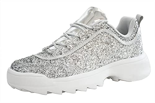 LUCKY STEP Women Glitter Chunky Dad Neon Orange Yellow Snake Sneakers Tennis Casual Lightweight Shoes (9 B(M) US, Silver)