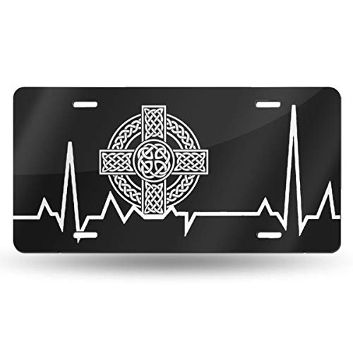 WAZZ CHUD Celtic Cross Irish Scottish Heartbeat Novelty License Plate Decorative Car Front License Plate Vanity Tag Aluminum Car Plate 6' X 12' Inch Car Plate License Plate Frame