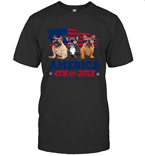 French Bulldog Dog American Flag Sunglasses 4th of July Gifts Shirt Unisex T-Shirt Sweatshirt Hoodie Black