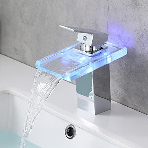 WINDALY LED Cascada Grifo Lavabo, Cascada Grifo Lavabo Baño con Cambio de 3 Luces, Grifos Lavabos de Una Manija Latón Cromo