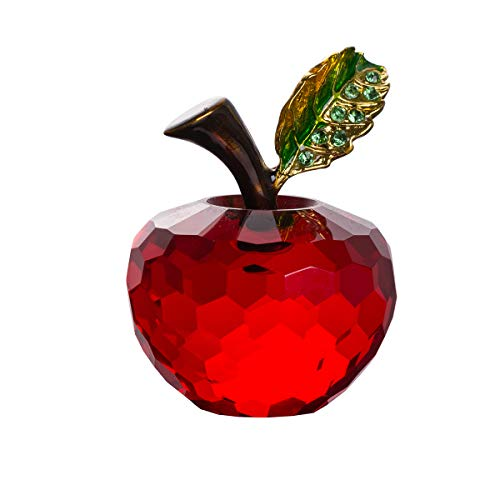 LONGWIN 40mm (1.6 inch) Crystal Apple Figurine Paperweight Glass Fruit Home Decor Christmas Decoration Ornaments Red