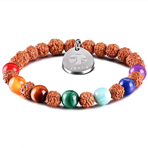 JOXFA 7 Chakra Bracelet for Women Men, Natural Gem Stone Essential Oil Diffuser Aromatherapy Bracelet 8MM Rudraksha Mala Beads Yoga Meditation Rosary Beads Elastic Beaded Stretch Bracelets