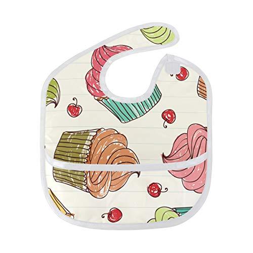 FANTAZIO Cupcakes Cherry Patroon Baby Bib Waterdichte Baby Drooler Bib Wasbaar Pak voor 6-24 Maanden