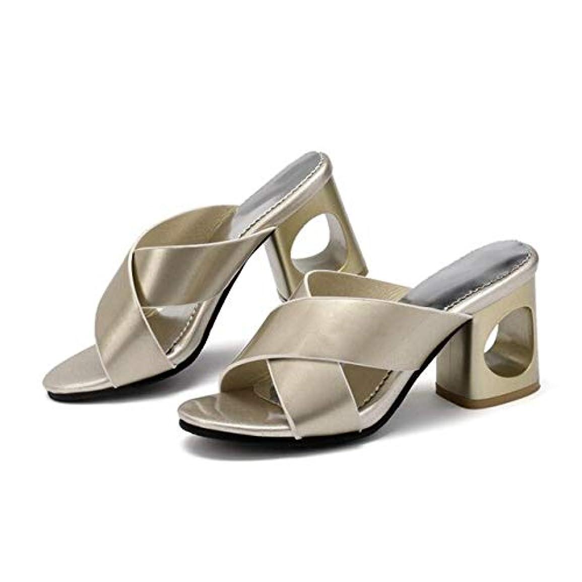 [AHZHDXZM] レディーススティレットサンダルビッグサイズ32-45女性夏ファッションレジャーシューズ女性プラットフォームピープトウ??サンダルビーチスリッパ8ゴールド女性用ハイヒールヒール