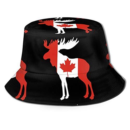 Shichangwei Sombrero de pescador con bandera de Canadá, unisex, con parte superior plana, color negro